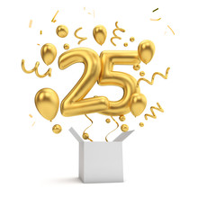Happy 25th Birthday Gold Surprise Balloon And Box. 3D Rendering