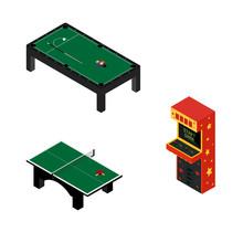 Game Room Concept. Arcade Game...