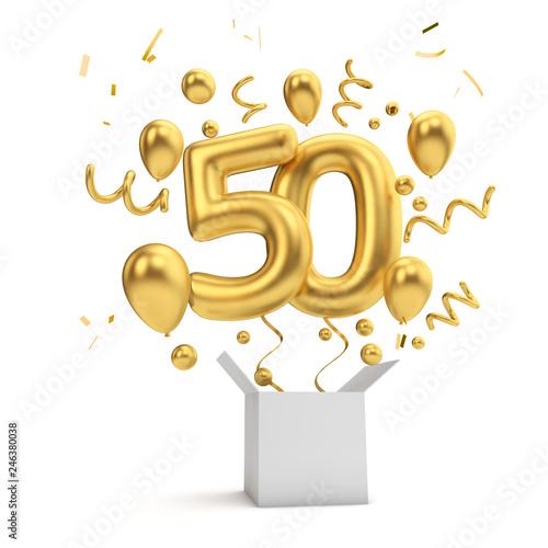 Fotografía Happy 50th birthday gold surprise balloon and box. 3D Rendering