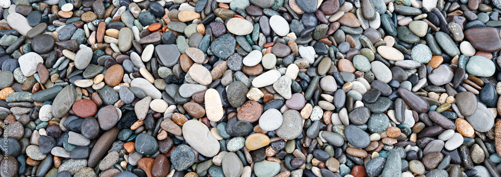 Fototapety, obrazy: Web banner abstract smooth round pebbles sea texture background, spa concept
