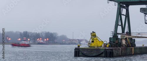 Foto op Plexiglas Poort SEAPOPRT - Morning at the transshipment wharf in Swinoujscie
