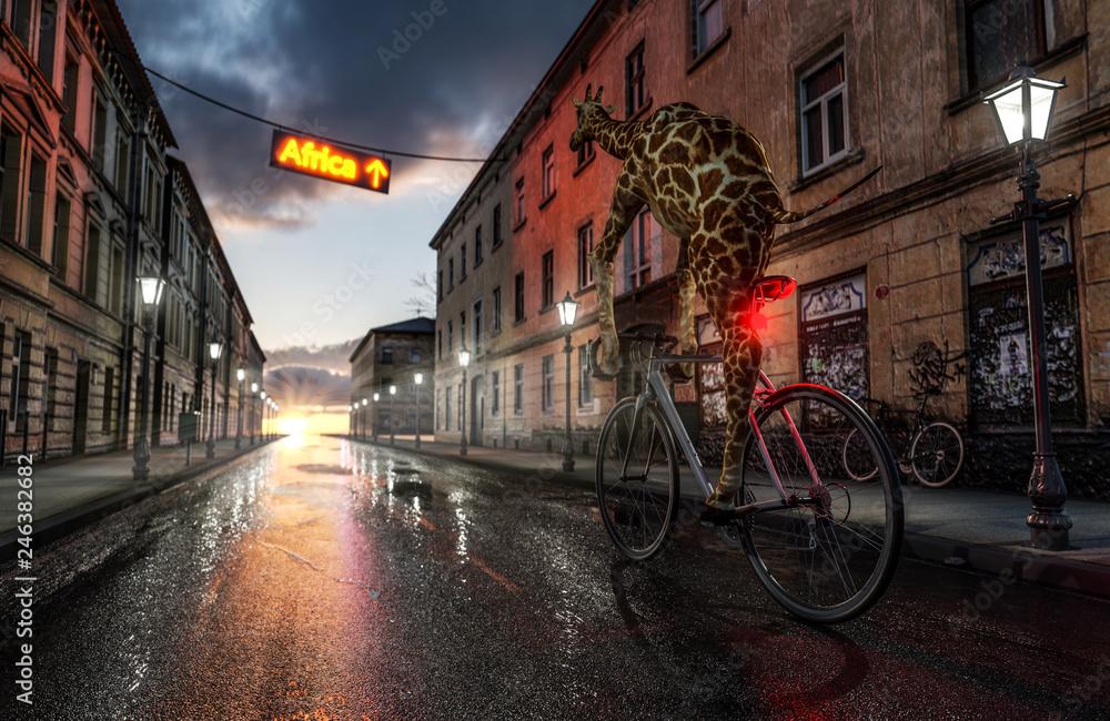 Giraffe fährt mit Fahrrad Richtung Afrika