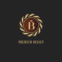 Gold Monogram Design. Luxury Volumetric Logo Template. 3d Line Ornament. Emblem With Letter B For Business Sign, Badge, Crest, Label, Boutique Brand, Hotel, Restaurant, Heraldic. Vector Illustration