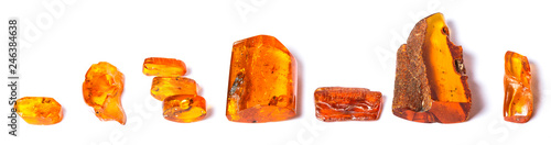 Canvas .Amber crystals on a white isolated background