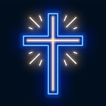 Church Cross Neon Sign. Glowing Symbol Of The Crucifixion.