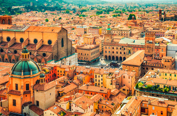 Aerial cityscape view of Piazza Maggiore square and San Petronio church in the city of Bologna, Italy.