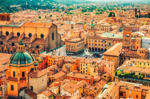 Leinwand Poster  Aerial cityscape view of Piazza Maggiore square and San Petronio church in the city of Bologna, Italy