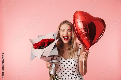 Obraz Beautiful young blonde woman wearing dress standing - fototapety do salonu