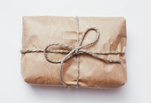 Box Parcel Wrapped In Brown Cr...
