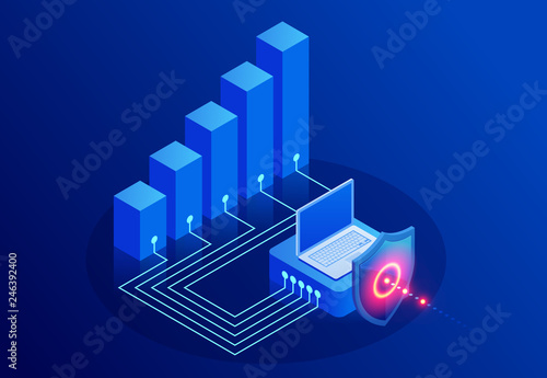 Fotografía  Isometric Protection network security and safe your data concept