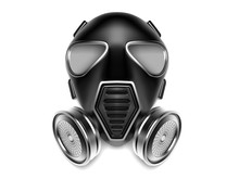 Gas Mask. Modern Black Respirator With Metal Filters. 3d Rendering Illustration