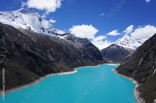 Staande foto Nieuw Zeeland Blue glacial lake in the Cordillera Blanca, Andes Mountains, Peru