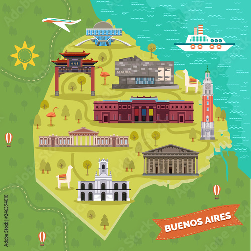 Valokuva  Argentina capital Buenos Aires map with landmarks