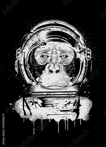 Naklejka premium Szympans z hełmem astronauty w stylu graffiti