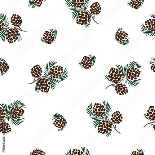 Fotografie, Obraz  Seamless vector pattern, Christmas tree cones silhouette