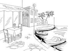 Seafront Pier Cafe Graphic Sea Bay Black White Landscape Sketch Illustration Vector