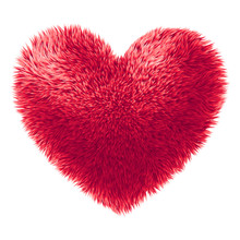 Vector Red Fur Heart Isolated On White Background