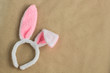 Top view of decoration symbol Happy Easter holiday. Bunny Ears on rustic Background concept. Free space for design.