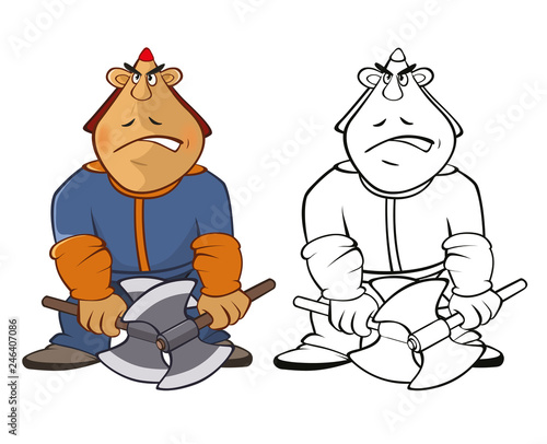 Vector Illustration of a Soldier Mongol. Coloring Book Cartoon