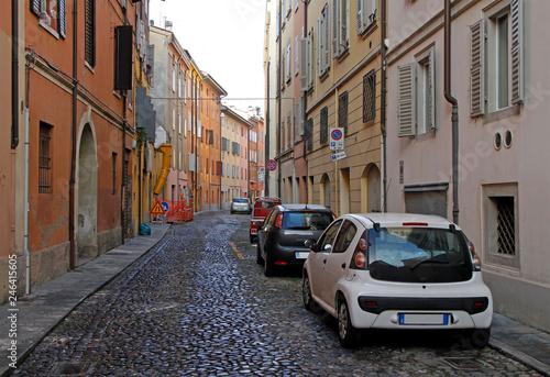 Spoed Foto op Canvas Smal steegje the narrow street in italian city Modena