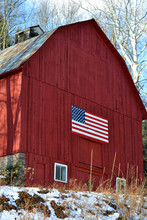 American Flag On Red Bard