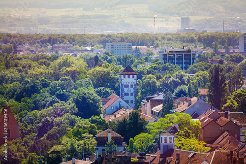 Fotobehang Centraal Europa Picturesque view of Basel city with St. Alban Gate