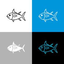 Tuna Fish Icon. Line Style Symbol Of Tuna.