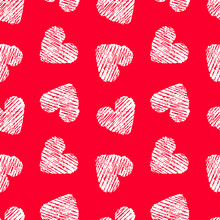 Hand Drawn Seamless Red Heart Pattern. Valentines Day Vector Background.