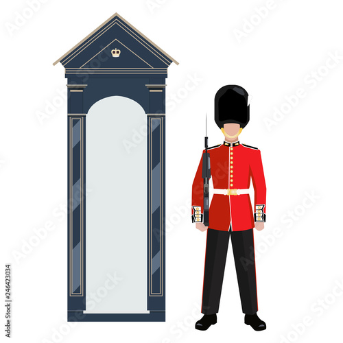 Sentry of The Grenadier Guards outside Buckingham Palace - vector illustration Canvas Print