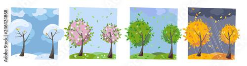 Four seasons landscape Fototapet
