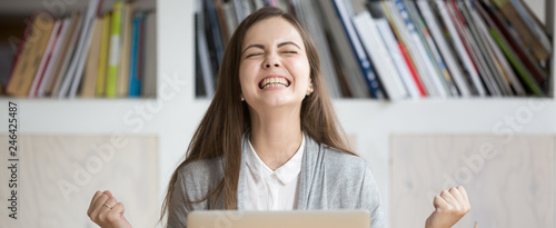 Fotografie, Tablou  Happy excited woman celebrate great work opportunity, student receive news enrol