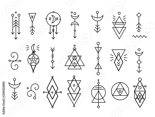 Hipster sacred geometric shapes vector set - Buy this stock