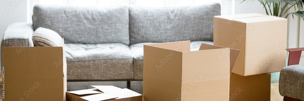 Fototapety, obrazy: Horizontal photo heap of cardboard boxes with personal belongings in living room at moving relocation day no people, delivery service concept, banner for website header design with copy space for text