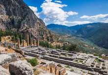 Tourists Visit To Temple Of Apollo In Delphi, Central Greece