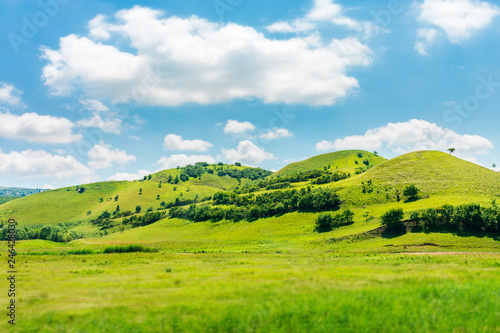 Poster de jardin Colline green hill in summer landscape. beautiful countryside scenery. fluffy clouds on a bright blue sky. tilt-shift and motion blur effect applied.