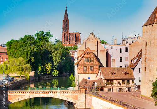 Strasbourg view with Ponts Couverts and cathedral