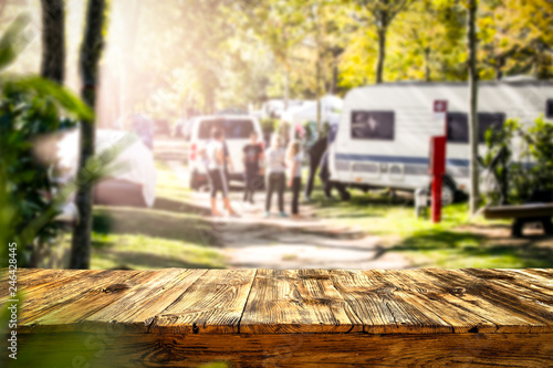 Table background of free space and camping background Fotobehang