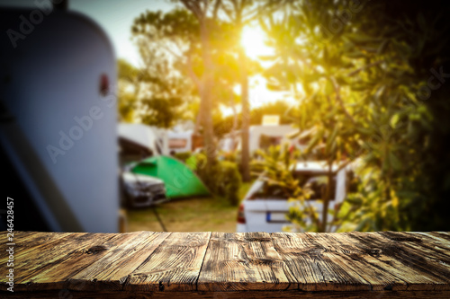 Poster Camping Table background of free space and camping background