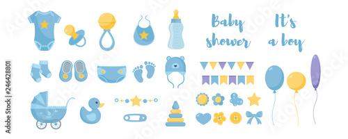 Toddler nursing and health care and hygiene products with decorative elements for baby shower design Tapéta, Fotótapéta