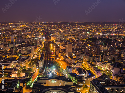 Photo sur Toile Europe Centrale Sunset aerial view of the famous Gare Vaugirard train station and downtown citypscape