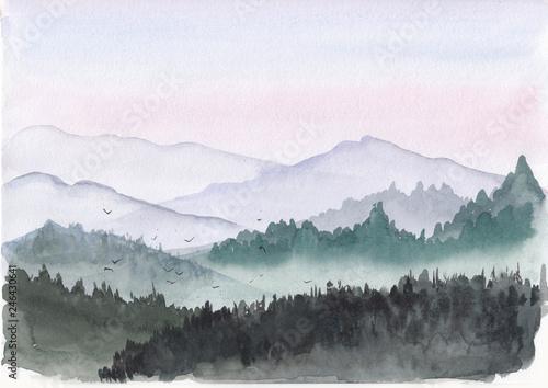 akwarela-ilustracja-gorski-krajobraz