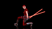 Redhead Warrior Girl With Futuristic Light Swords Kneeling, Braided Woman With Sci-fi Laser Saber Weapon Isolated On Black, 3D Rendering