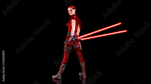 Redhead warrior girl with sci-fi light swords, braided woman with futuristic las Canvas Print
