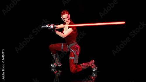 Photo  Redhead warrior girl with sci-fi laser sword, braided woman with futuristic sabe