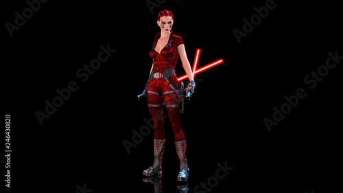 Photo  Redhead warrior girl with two sci-fi laser swords, braided woman with futuristic