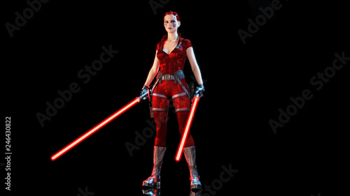 Redhead warrior girl with two futuristic light swords, braided woman with sci-fi Canvas Print