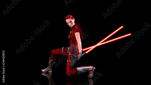 Redhead warrior girl with futuristic light swords kneeling, braided woman with s Canvas Print