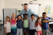 Happy School Kids And Teacher ...