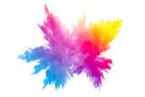 Fototapeta Tęcza - Multi color powder explosion on white background.