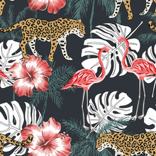 Pink Flamingo, Leopard, Palm Trees, Red Hibiscus Flowers, Black Background. Vector Seamless Pattern. Tropical Illustration. Exotic Animals And Birds. Summer Beach Design. Paradise Nature